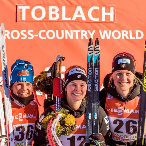 Krista, Me and Sadie on the 5km skate podium! (photo from Nordic Focus/Salomon)
