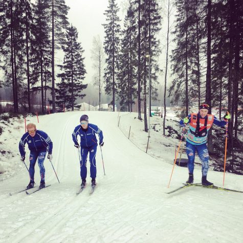 Gelso, Erik and Tim testing skis on the course in Ulricehamn a few days before the races.