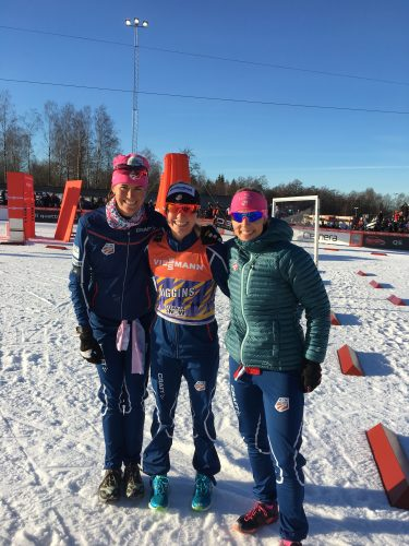 Liz, me and Kikkan at Liz's first ever World Cup start!!! (in the stadium in Ulricehamn)