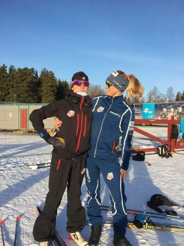 Liz and I, ready for training in Falun! (photo by Andy)