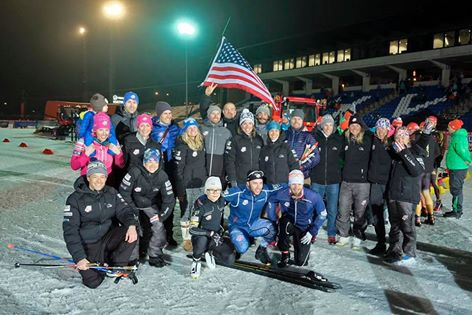 The athletes and staff after racing (and cheering) for the night tech sprints! (photo from Assar Jõepera)