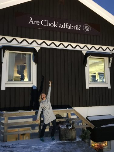 Of course, we HAD to stop at the Chocolate factory in Åre! (photo from my Mom)