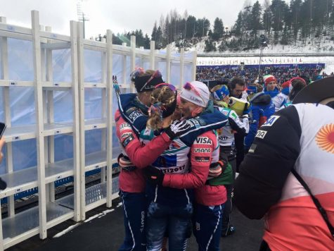 Team huddle after the relay (photo from Zuzana Rogers)