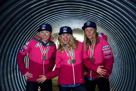 "Trying to bring ""the backstreet boys look"" back in style - Kikks, me and Sadie doing a cheesy medals shot with Getty Images."